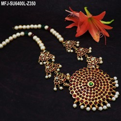 Kempu Stones With Four Line Pearls & Flowers Design Haram For Bharatanatyam Dance And Temple Buy Online