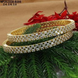 2.4 Size CZ Stones Designer Gold Plated Finish Two Set Bangles Buy Online