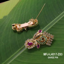 CZ, Ruby & Emerald Stones Flowers Design Gold Plated Finish Saree Pin Buy Online