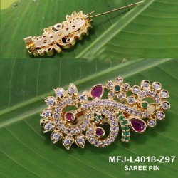 CZ & Ruby Stones Peacock & Flowers Design Gold Plated Finish Saree Pin Buy Online