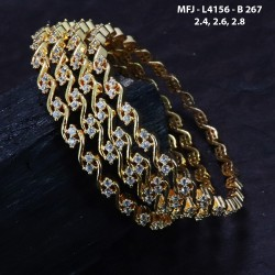 2.4 Size CZ & Ruby Stones Designer Gold Plated Finish Four Set Bangles Buy Online