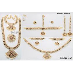 White & Pink Colour Stones Flowers & Mango Design Gold Colour Polished Combo Dance Set For Barathanatyam & Temple Buy Online