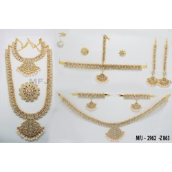 White & Red Colour Stones Flowers & Mango Design Gold Colour Polished Combo Dance Set For Barathanatyam & Temple Buy Online