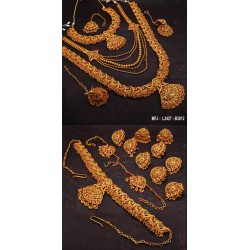 High Quality Kempu Stones Peacock, Flowers & Leaves Design Gold Plated Finish Combo Bridal & Dance Set Buy Online