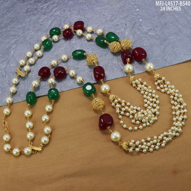 Pearls Red Green Beads Designer Chain Buy Online