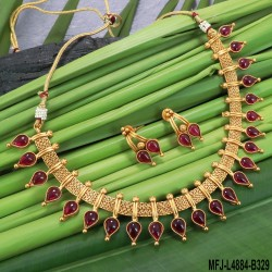 Kempu Stones Designer Mat Finish Necklace Set Buy Online