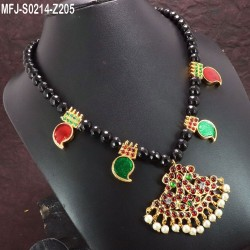Red & Green Colour Beads With Golden Colour Polished Designer Pendant Necklace Buy Online