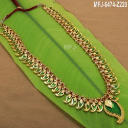 Kempu Stones With Single Line Pearls, Peacock & Flowers Design Haram For Bharatanatyam Dance And Temple Buy Online