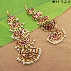 Kempu Stones 6 Step Design Mattel Earrings For Bharatanatyam Dance And Temple Buy Online
