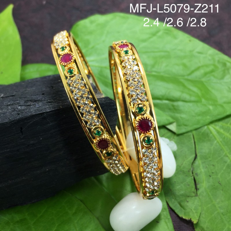 45e079d3624 2.4 Size White, Red & Green Colour Stones Flowers Design Gold Plated Finish  Six Set