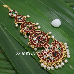 Kempu Stones With Pearls Flowers & Five Step Design Hair Accessory For Bharatanatyam Dance And Temple Buy Online