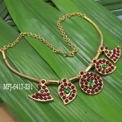 Kempu stones Flower & Mango Design Necklace For Temple And Bharatanatyam Dance Buy Online