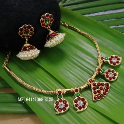 Kempu stones Designer Necklace With Earrings For Temple And Bharatanatyam Dance Buy Online