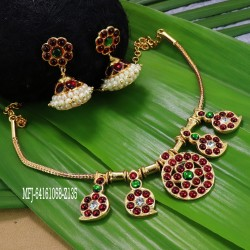 Kempu stones Mango Design Necklace With Jumkis For Temple And Bharatanatyam Dance Buy Online