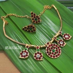 Kempu stones Mango & Flowers Design Necklace With Jumkis For Temple And Bharatanatyam Dance Buy Online
