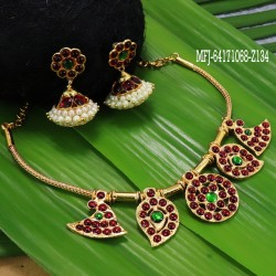 Kempu stones Mango & Flowers Design Necklace With Earrings For Temple And Bharatanatyam Dance Buy Online