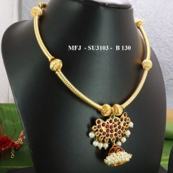 Kempu stones With Red Beads & Pearls Designer Necklace For Temple And Bharatanatyam Dance Buy Online