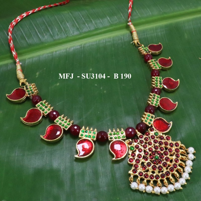 Green stones With Red Enamel & Green Beads Designer Necklace For Temple And Bharatanatyam Dance Buy Online