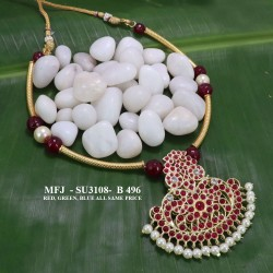 Red Beads & Pearls With High Quality Kempu Stones Flowers Design Pendant Necklace For Temple And Bharatanatyam Dance Buy Online