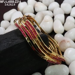 2.4 Size Red & Green Colour Stones Designer Gold Plated Finish Two Set Bangles Buy Online