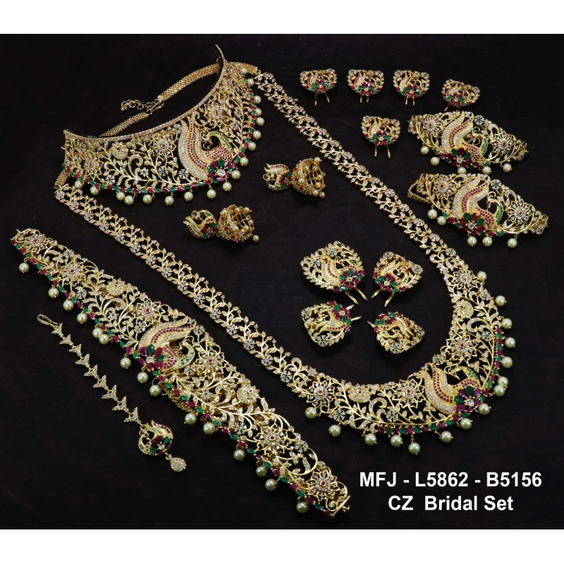 a3f9a214baa47 CZ,Ruby&Emerald Stones With Perls Peacock With Flowers Design Gold Plated  Full Bridal Set Buy Online