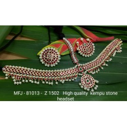 High Quality Kempu Stones With Pearls Flowers & Leaves Design 3 Side Headset For Bharatanatyam Dance And Temple Buy Online