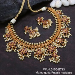 Ruby& Emerald Stones Gutta Pusala Design With Pearls Drops Mat Finish Necklace Set Buy Online