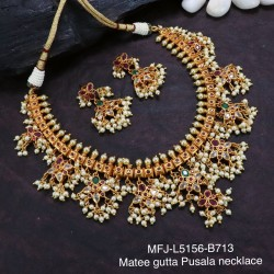 Ruby Stones Gutta Pusala Design With Pearls Drops Mat Finish Necklace Set Buy Online
