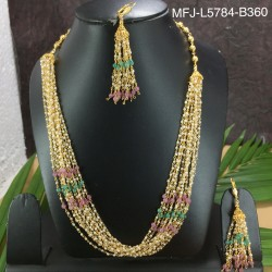 Ruby & Emerald Stones Gold Plated Finish Necklace Buy Online