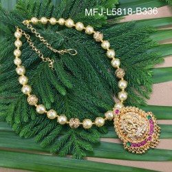 Ruby & Emerald With Pearls Lines Gold Plated Finish Necklace Buy Online