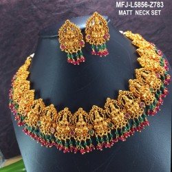 Ruby&Emerald Stones With Gold Balls Flower With Peacock Design With Pearls Drops Mat Finish Necklace Set Buy Online