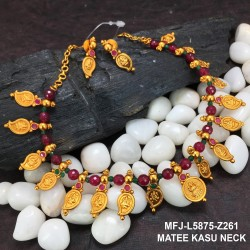 Ruby&Emerald Stones Lakshmi Design With Pearls Drops Mat Finish Necklace Set Buy Online