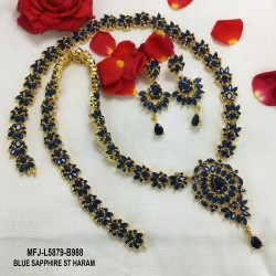 Emerald Stones Flowers & Leaves Design Gold Plated Finish Haram Set Buy Online
