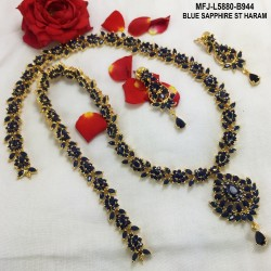 Blue Stones Flowers & Leaves Design Gold Plated Finish Haram Set Buy Online