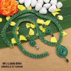 Ruby & Emerald Stones Flowers & Leaves Design Gold Plated Finish Haram Set Buy Online
