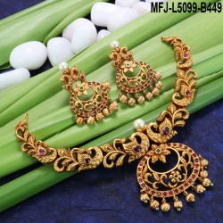 Lakshmi With Peacock Design With Pearls Drops Mat Finish Necklace Set Buy Online