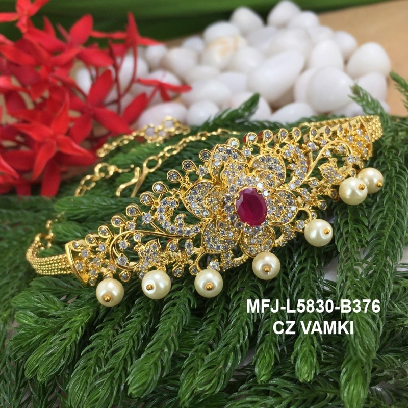 CZ,Ruby & Emerald  Stones With Perls Peacock Design Gold Plated Finish Vamki Buy Online