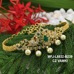 CZ&Ruby Stones With Perls Flower Design Gold Plated Finish Vamki Buy Online