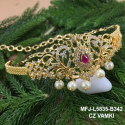 CZ,Ruby&Emerald Stones With Perls Peacock Design Gold Plated Finish Vamki Buy Online