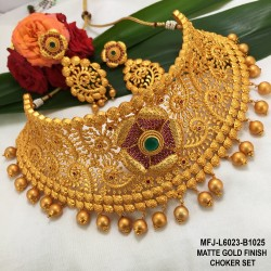 Ruby & Emerald Stones Peacock & Flowers Design With Balls Drops Mat Finish Choker Necklace Set Buy Online