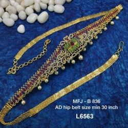 CZ, Ruby & Emerald Stones With Pearls Drops Flowers & Peacock Design Gold Plated Finish 30 Inch Hip Belt Buy Online