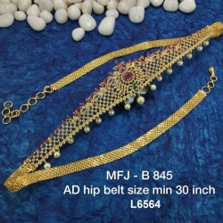 CZ, Ruby & Emerald Stones With Pearls Drops Lotus Flowers Design Gold Plated Finish 30 Inch Hip Belt Buy Online