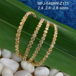 2.6 Size CZ & Ruby Stones Designer Gold Plated Finish Two Set Bangles Buy Online