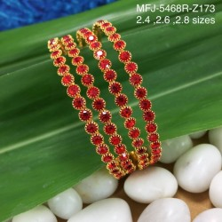 2.6 Size Ruby Stones Designer Gold Plated Finish Two Set Bangles Buy Online