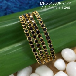 2.6 Black Size Black Colour Stones Designer Gold Plated Finish Two Set Bangles Buy Online