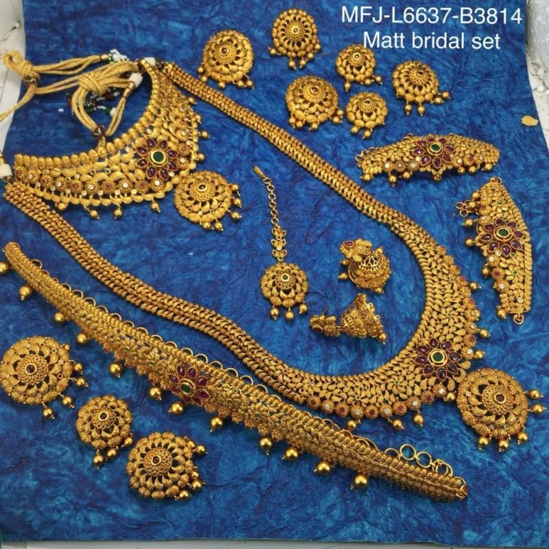 4b17aac39a2b1 CZ,Ruby & Emerald Stones With Golden Balls Flower Design Matt Finished Full  Bridal Set Buy Online