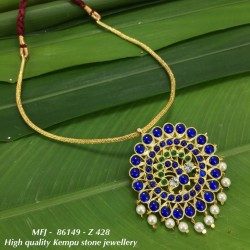 High Quality CZ&Emerald Stones With Pearls Flowers&Peacock Design Pendant With Chain Dance Set Buy Online