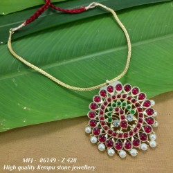 High Quality CZ,Emerald&Blue Stones With Pearls Flowers&Peacock Design Pendant With Chain Dance Set Buy Online