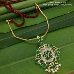 High Quality CZ,Ruby&Emerlad Stones With Pearls Flowers&Peacock Design Pendant With Chain Dance Set Buy Online
