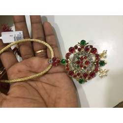 High Quality Ruby&Emerlad Stones With Pearls Design Pendant With Chain Dance Set Buy Online